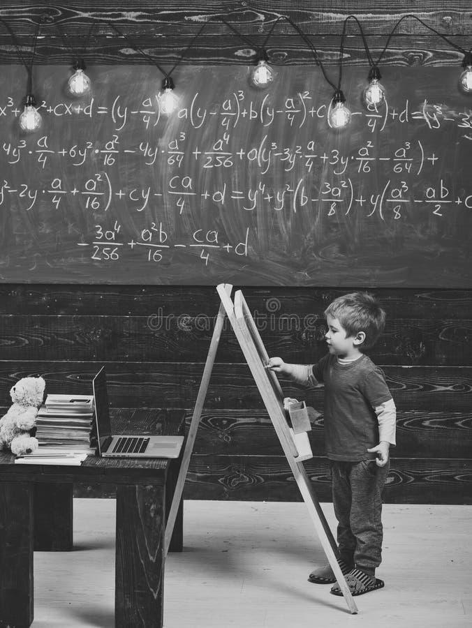 获得愉快的孩子乐趣 在黑板的小男孩文字 在绿色委员会前面的侧视图孩子有算术等式的 聪明 库存照片