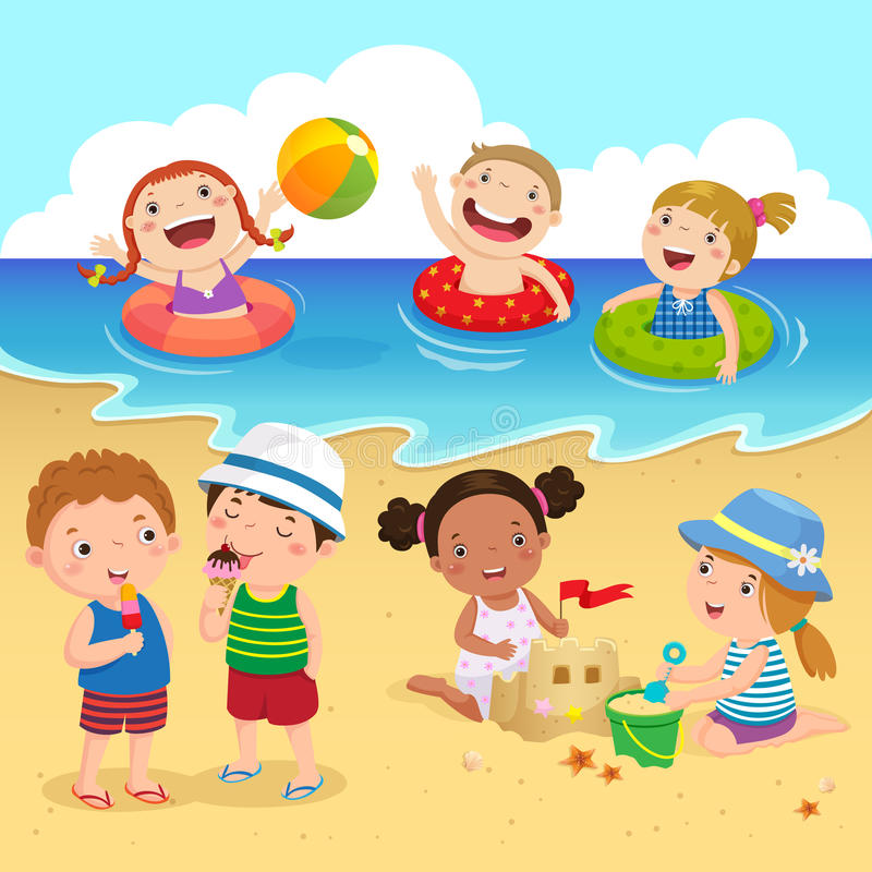 获得愉快的孩子在海滩的乐趣 向量例证