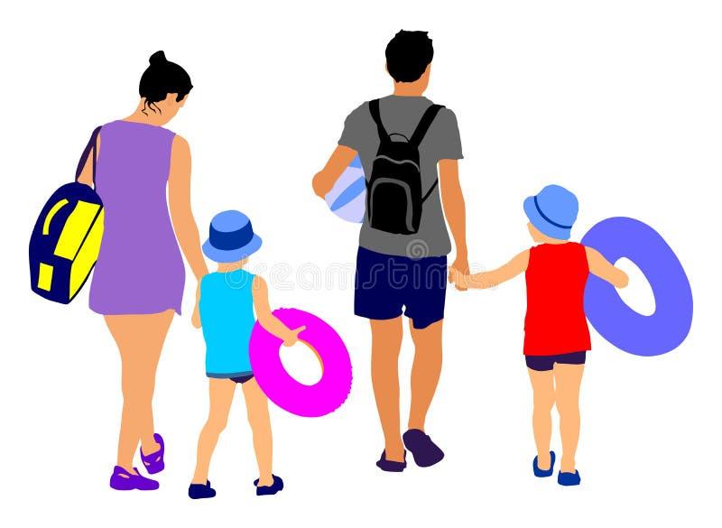 获得愉快的家庭乐趣,和去美好的晴朗的热带海滩传染媒介 库存例证