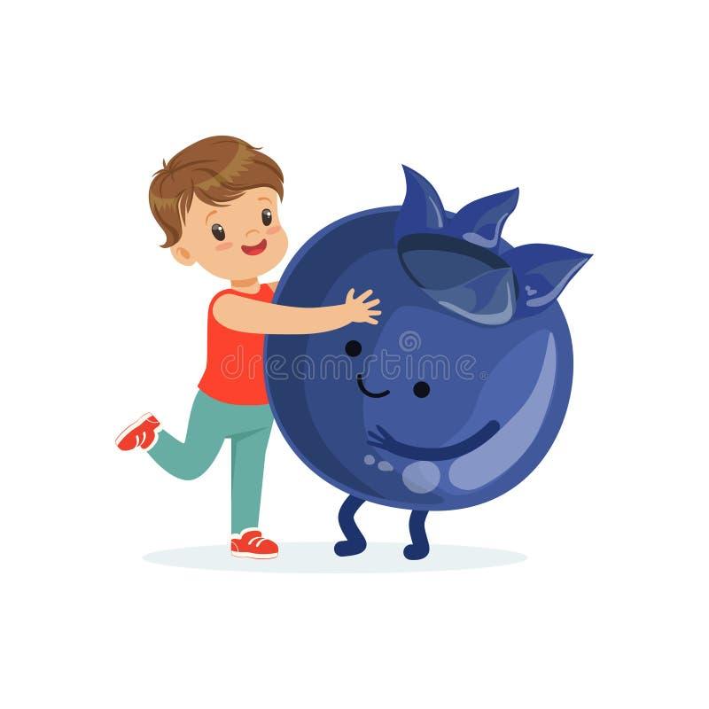 获得愉快的男孩乐趣用新鲜的微笑的蓝莓,孩子五颜六色的字符的健康食物导航例证 向量例证