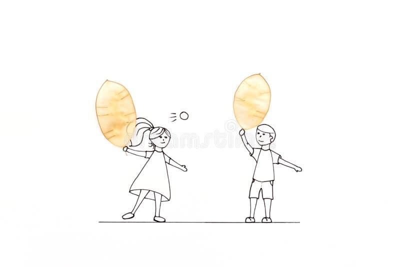 获得手画的夫妇打与球拍的乐趣网球由透亮seedpods做成 最小,创造性或者健康生活方式 向量例证