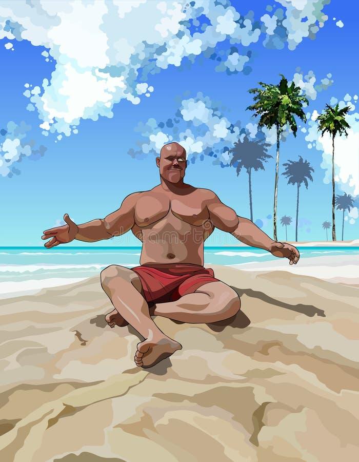 获得满意的肌肉的人在海滩的乐趣 皇族释放例证