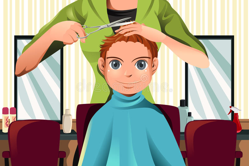 获得理发的男孩 皇族释放例证
