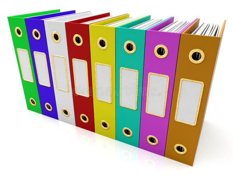 获得的五颜六色的文件行组织 皇族释放例证