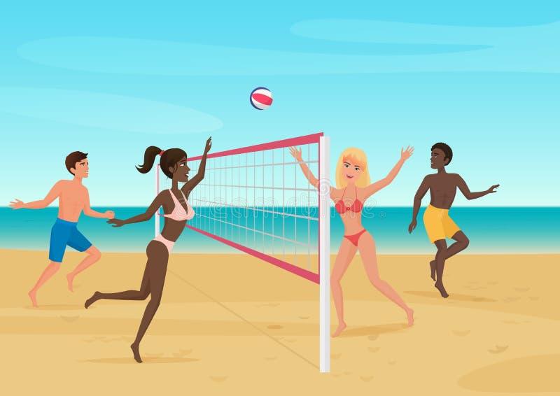 获得的人们打在海滩传染媒介例证的乐趣排球 库存例证