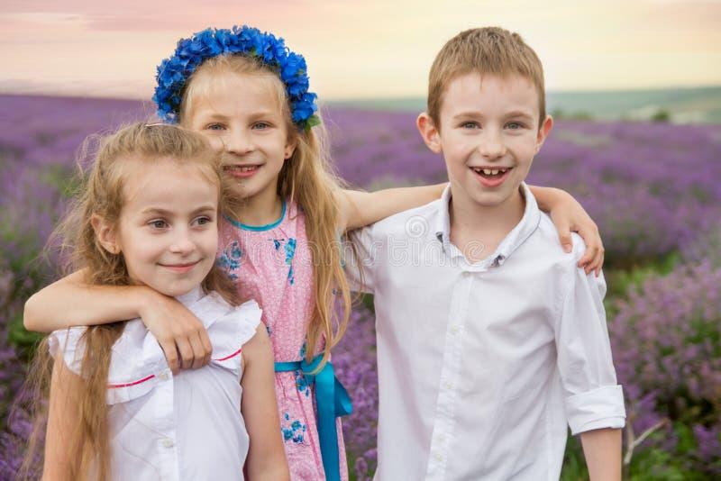 获得的孩子在淡紫色领域中的乐趣 免版税库存图片