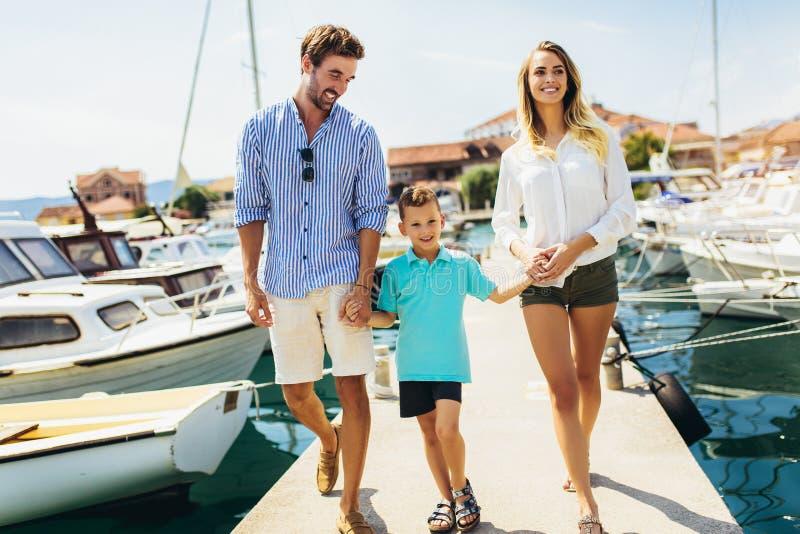 获得的家庭乐趣,享受夏时由海 库存图片
