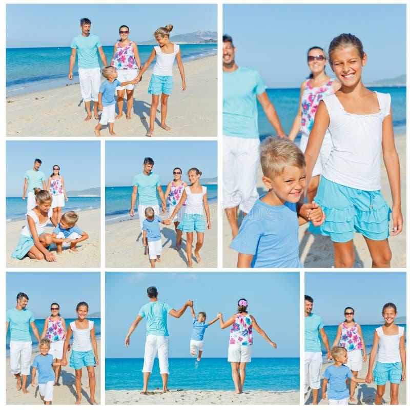 获得的家庭在海滩的乐趣 库存照片