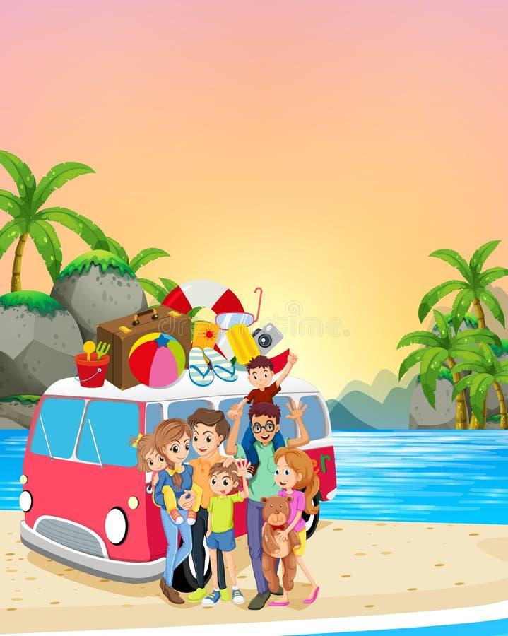 获得的家庭在海滩的乐趣 向量例证