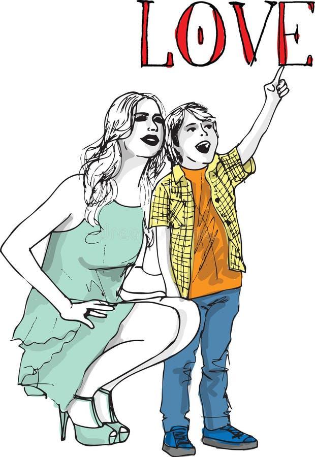 获得的小男孩草图与她美丽的母亲的乐趣 向量例证