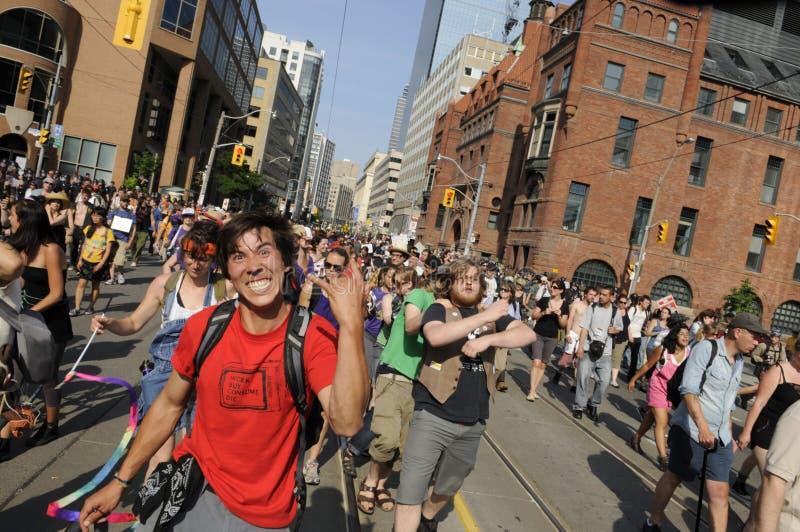 获得的抗议者乐趣。 免版税库存照片