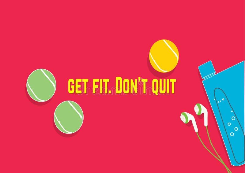 获得适应 不要放弃 健身刺激行情 概念查出的体育运动白色 向量例证