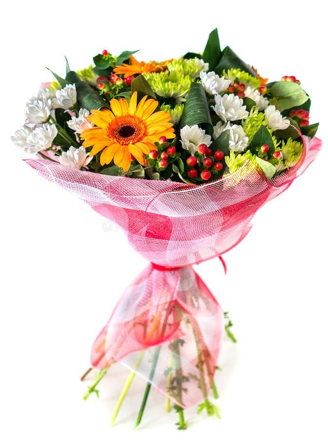 菊花和大丁草花束在红色和白色p开花 图库摄影