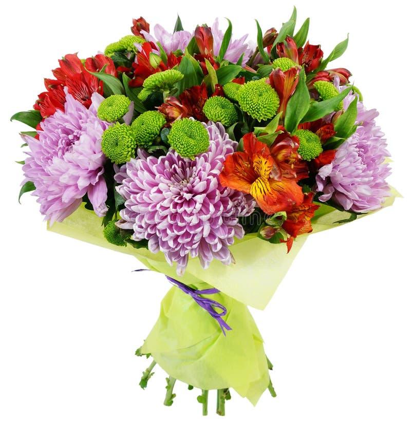 菊花和德国锥脚形酒杯花束  库存图片