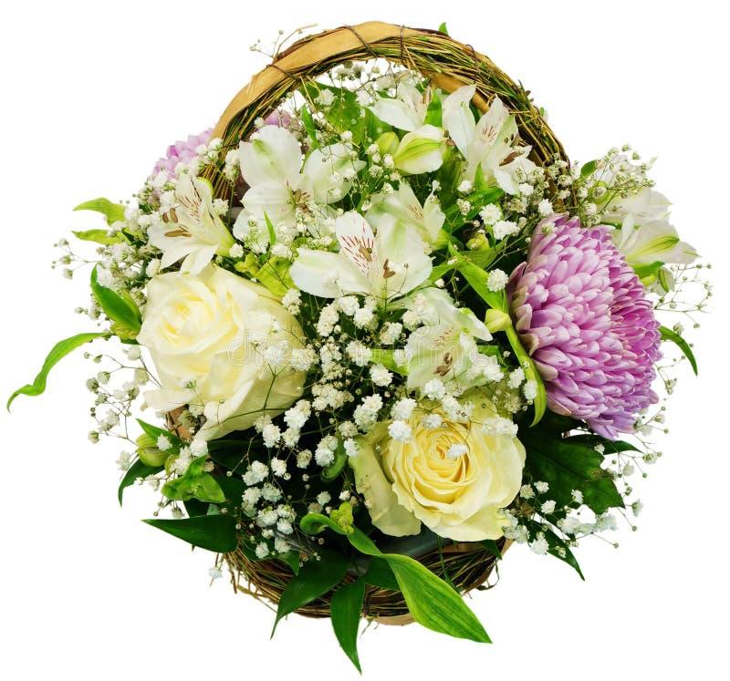 菊花和玫瑰篮子  库存图片