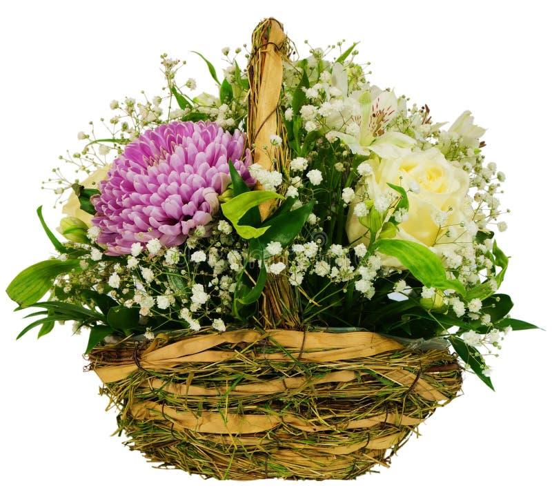 菊花和玫瑰篮子  免版税库存照片