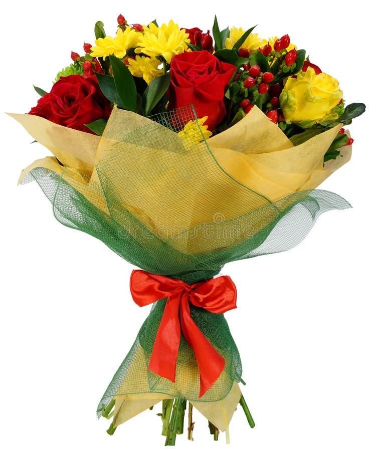 菊花和红色玫瑰花束  免版税库存图片
