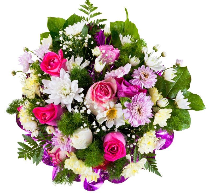 从菊花和香水月季的花花束 免版税库存照片