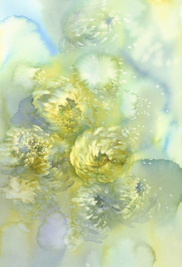 菊花开花水彩背景 抽象盐做了大理石背景 向量例证