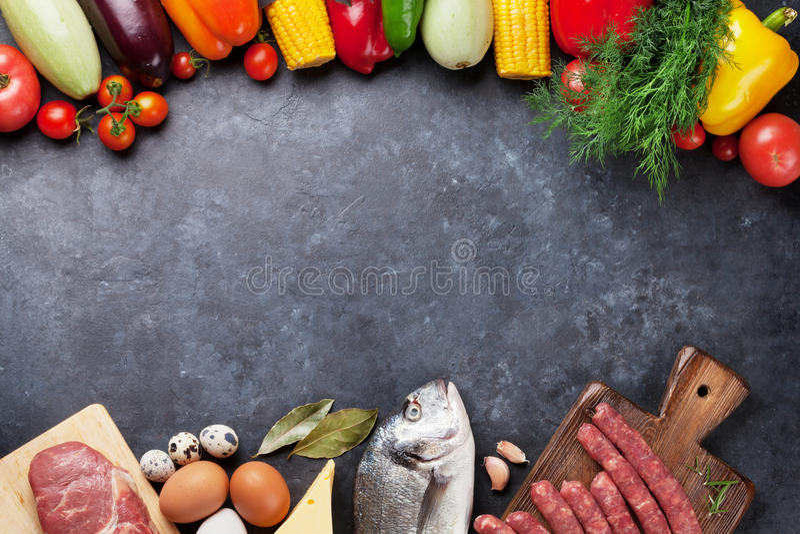菜、鱼和肉烹调 免版税库存图片
