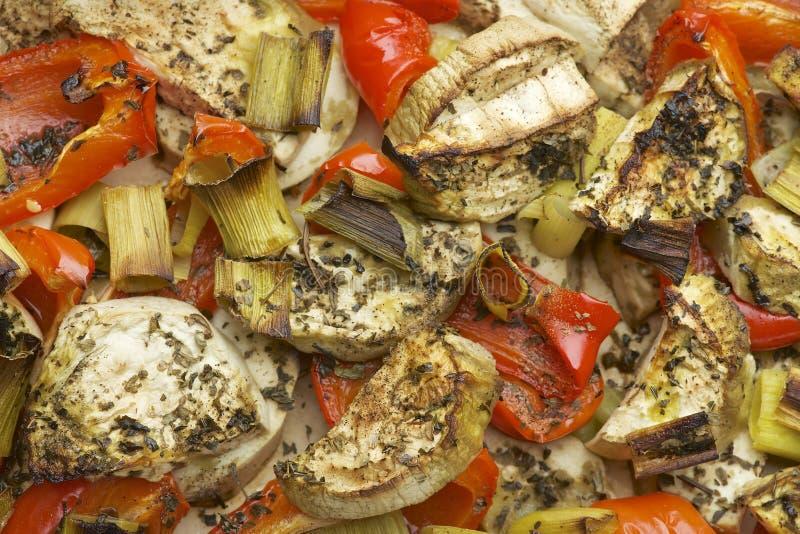 菜与茄子、红色甜椒、韭葱、蓬蒿和橄榄油混合烘烤在烤箱 图库摄影