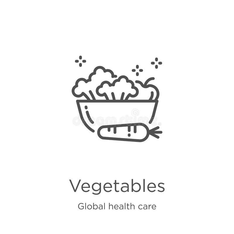 菜从全球性医疗保健收藏的象传染媒介 稀薄的线菜概述象传染媒介例证 概述,稀薄 向量例证