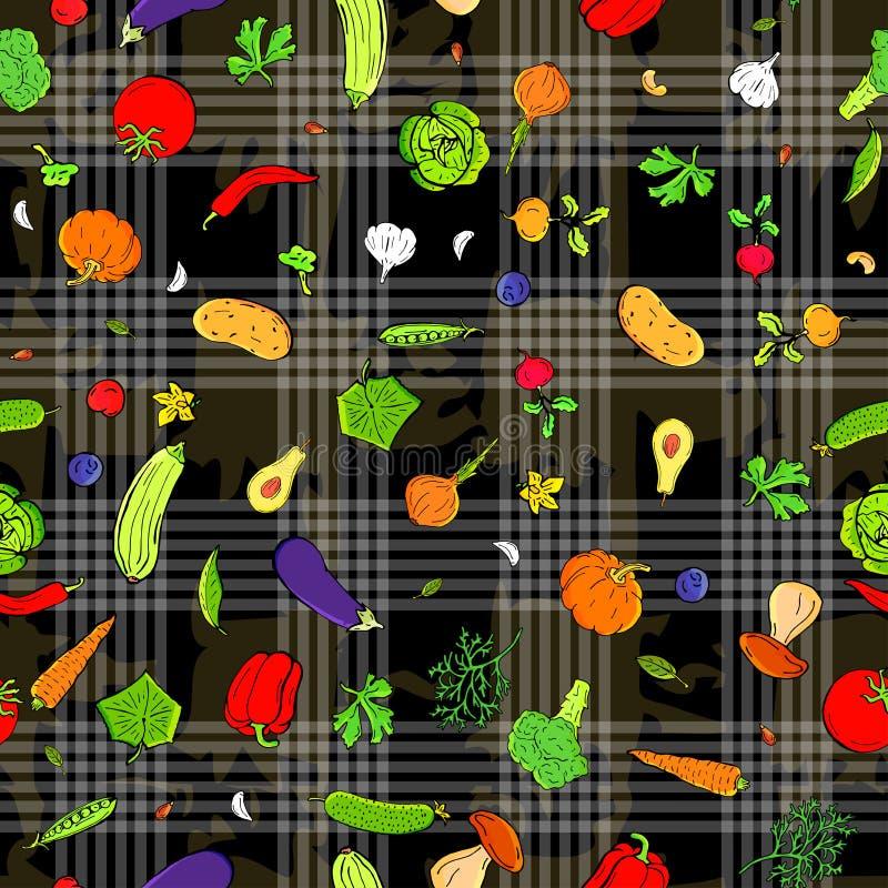 菜传染媒介无缝的样式减速火箭的图画  能为网页背景使用,填装图画,墙纸 皇族释放例证