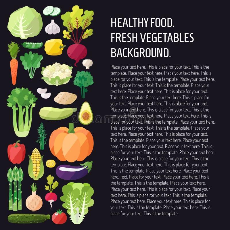 菜传染媒介背景 现代平的设计 健康背景的食物 皇族释放例证