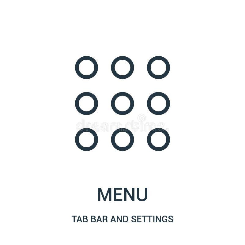 菜单从选项酒吧和设置汇集的象传染媒介 稀薄的线菜单概述象传染媒介例证 库存例证