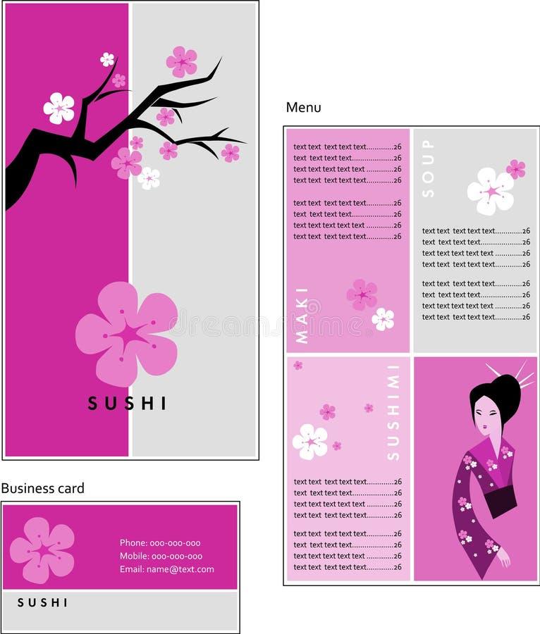菜单和cof的名片模板设计  库存例证