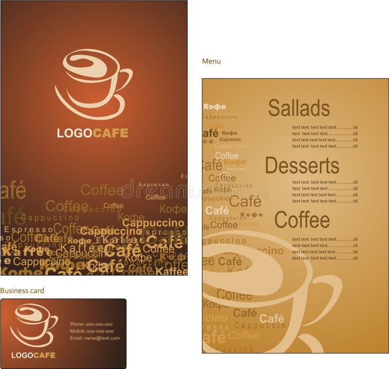 菜单和cof的名片模板设计  皇族释放例证