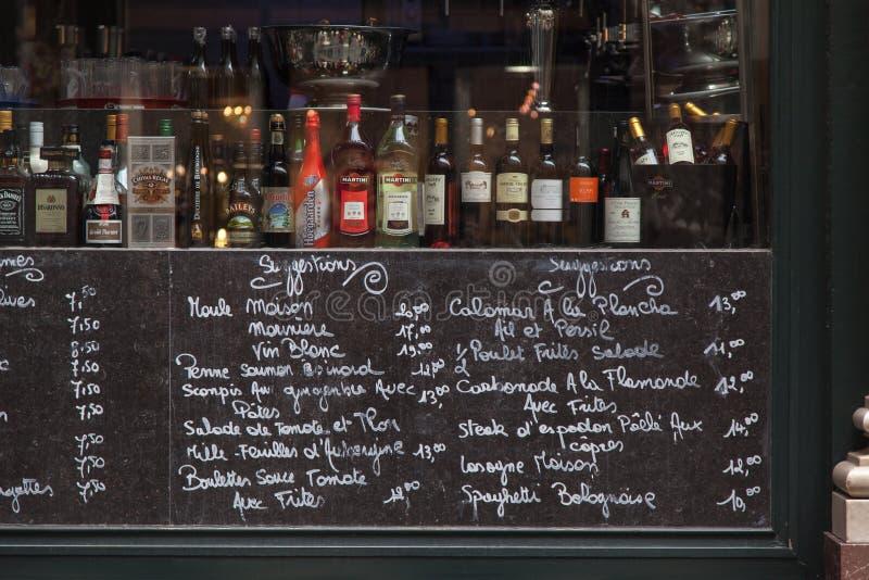 菜单在布鲁塞尔比利时 库存图片