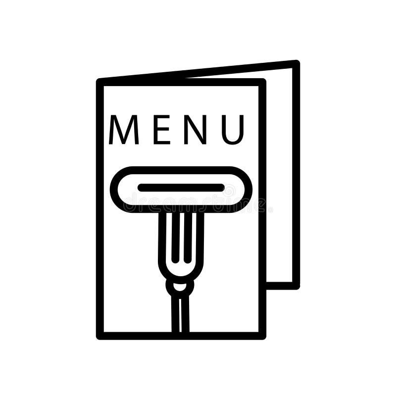 菜单在白色背景、菜单标志、线或者线性标志隔绝的象传染媒介,在概述样式的元素设计 皇族释放例证