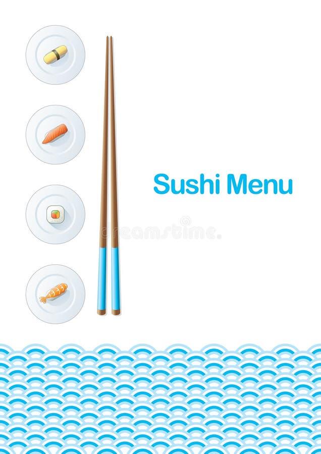 菜单寿司模板 皇族释放例证