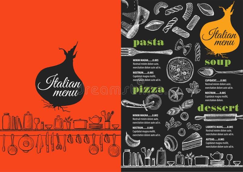 菜单意大利餐馆,食物模板placemat 向量例证