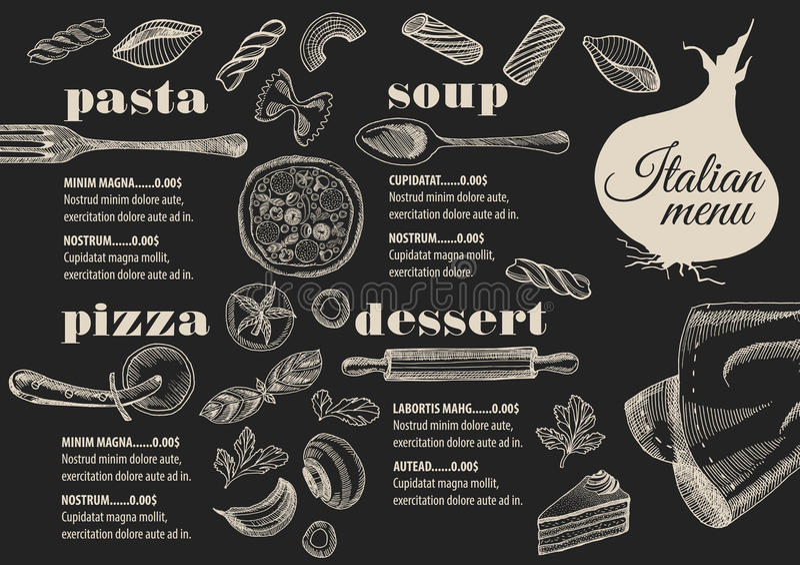 菜单意大利餐馆,食物模板placemat 库存例证