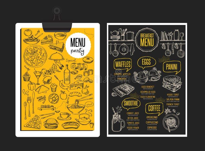 菜单早餐餐馆,食物模板placemat 库存例证