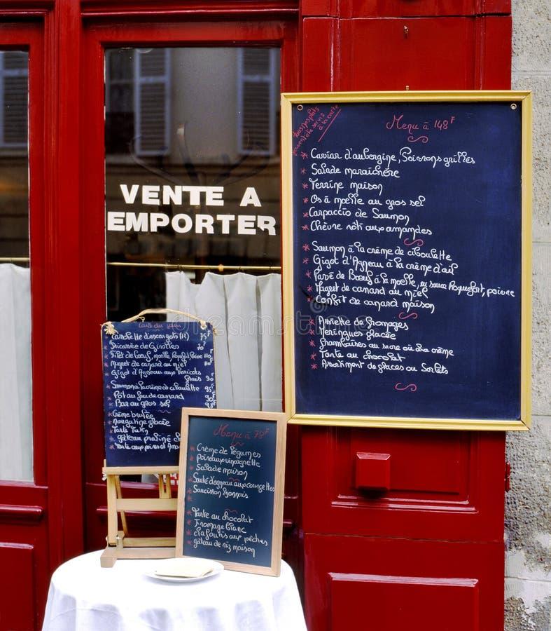 菜单标志一家餐馆外在法国 免版税库存图片