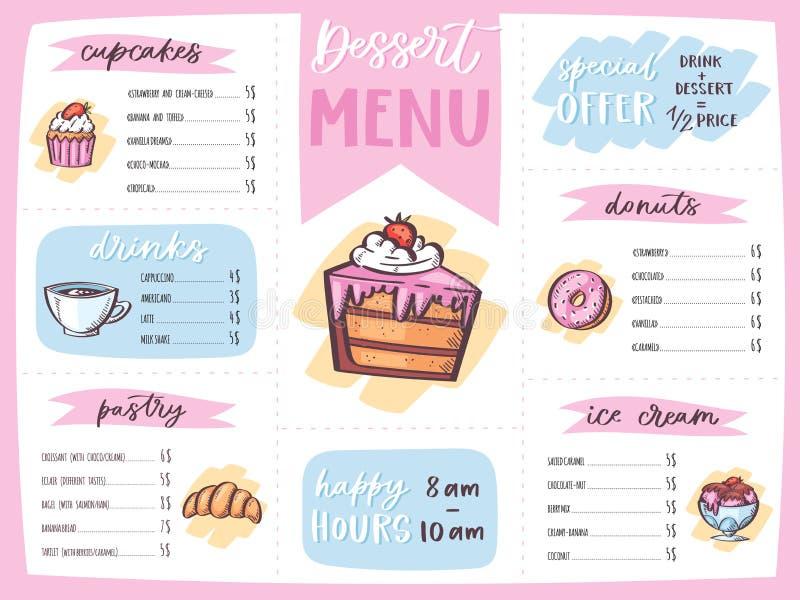 菜单点心传染媒介咖啡馆设计甜食物模板巧克力杯形蛋糕和冰淇凌在餐馆海报例证 皇族释放例证
