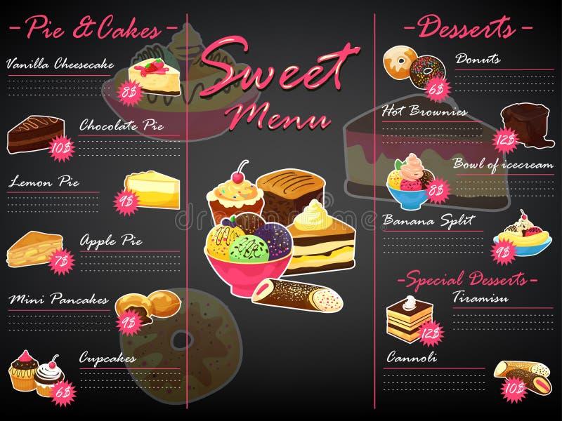 菜单点心传染媒介甜食模板巧克力杯形蛋糕和冰淇淋在餐馆海报例证套松饼 库存例证