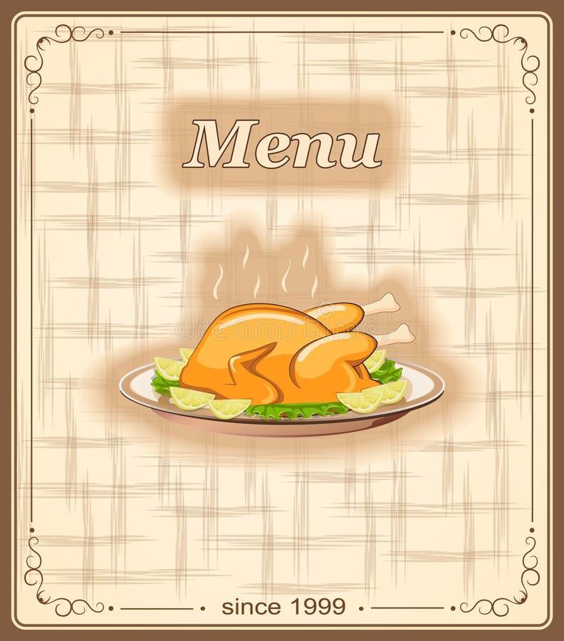 菜单的横幅与鸡 向量例证