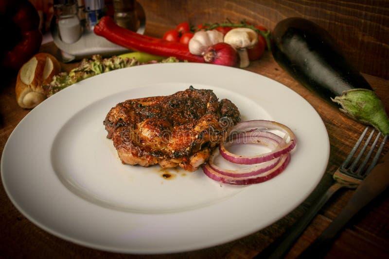 菜单的油煎的肉图片 免版税库存图片