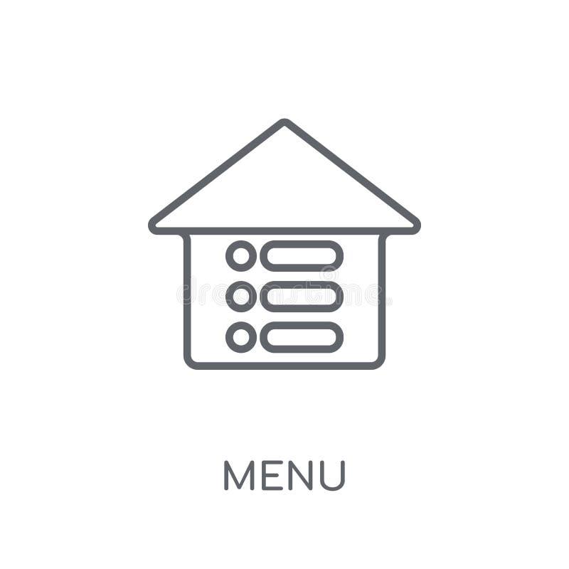 菜单线性象 在白色后面的现代概述菜单商标概念 向量例证