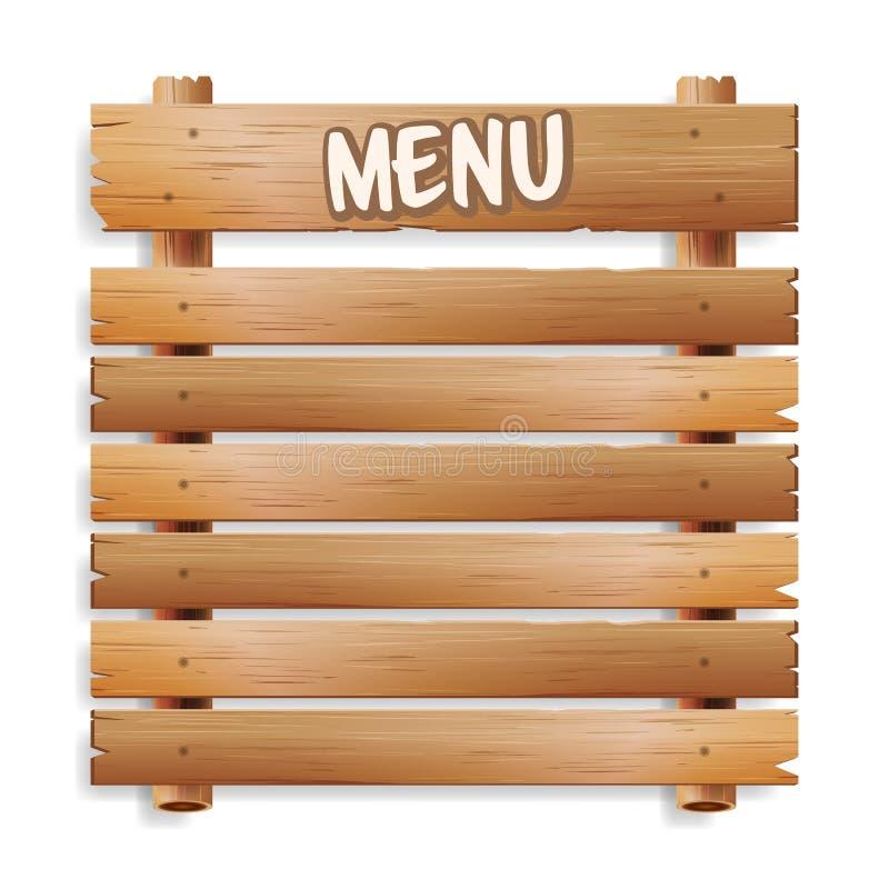 菜单董事会 咖啡馆或餐馆菜单公报黑色委员会 背景查出的白色 有木Fra的现实绿色黑板 库存例证