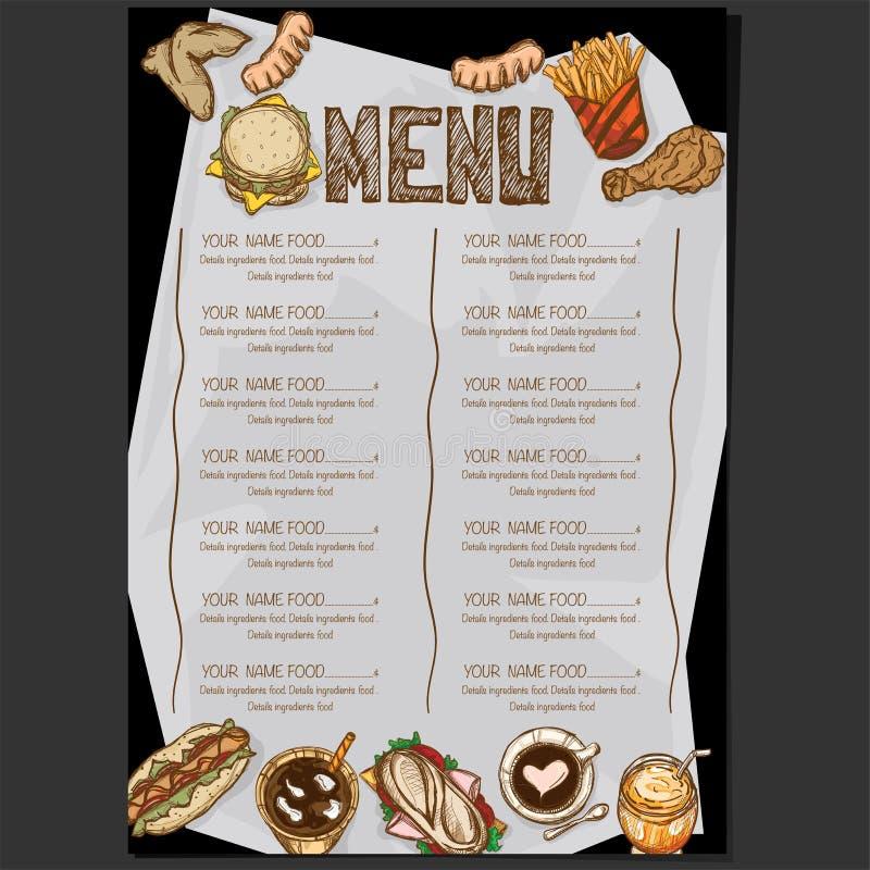 菜单食物餐馆模板设计手图画图表 向量例证
