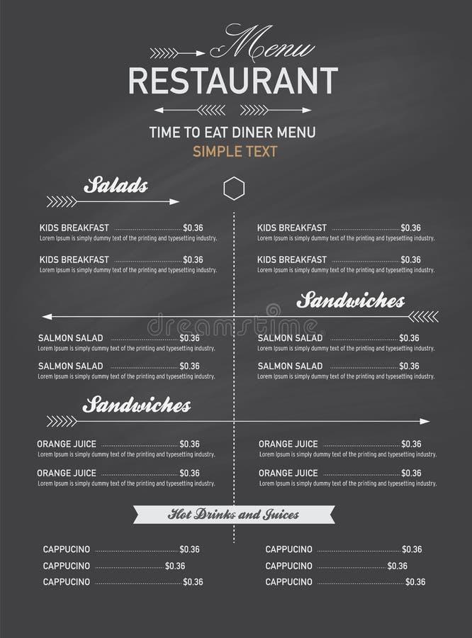 菜单餐馆行家样式 库存例证