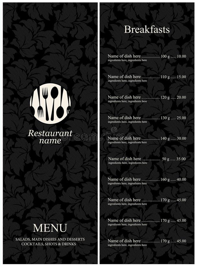 菜单餐馆 皇族释放例证