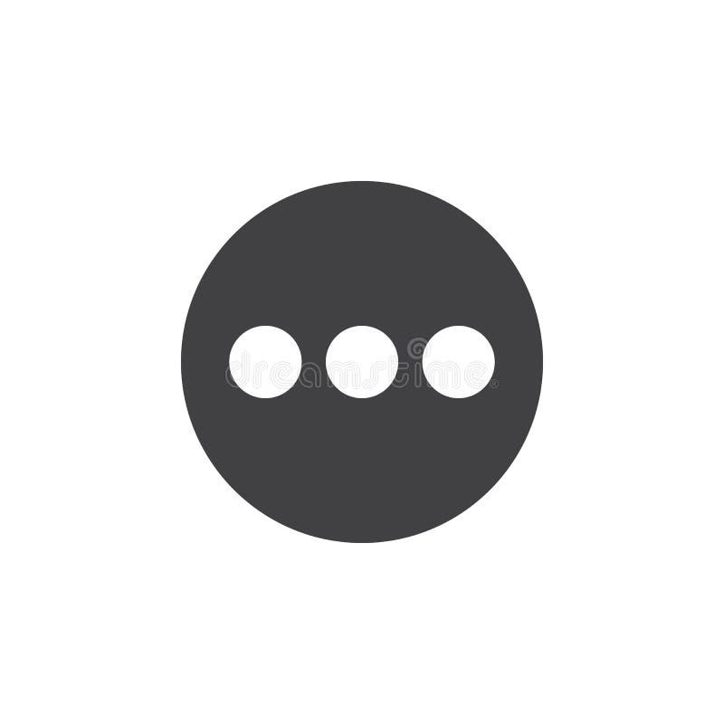 菜单,更平的象 圆的简单的按钮,圆传染媒介标志 向量例证