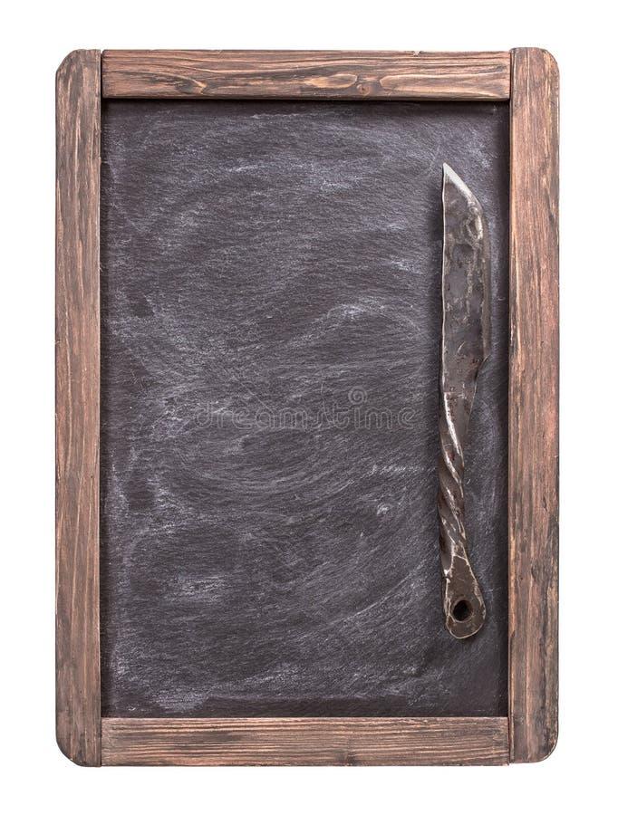 菜单黑板隔绝与刀子 免版税图库摄影