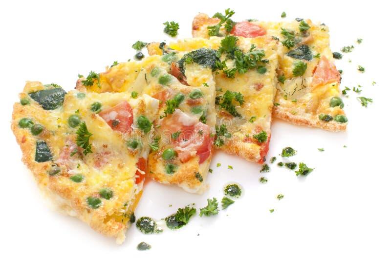 菜和乳酪煎蛋卷,菜肉馅煎蛋饼 库存图片